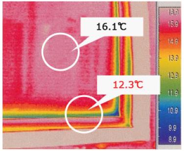 ウォームエッジスペーサーのサーモグラフィ画像
