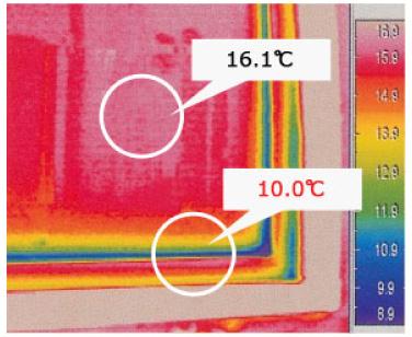 アルミスペーサーのサーモグラフィ画像